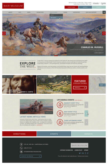 Bair Museum - Museum website with custom event widget