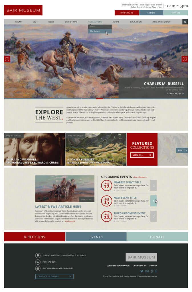 Bair Museum - Custom WordPress website for museums
