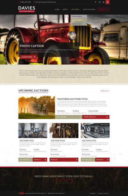 Davies Auction Service - Auction website with auction listings
