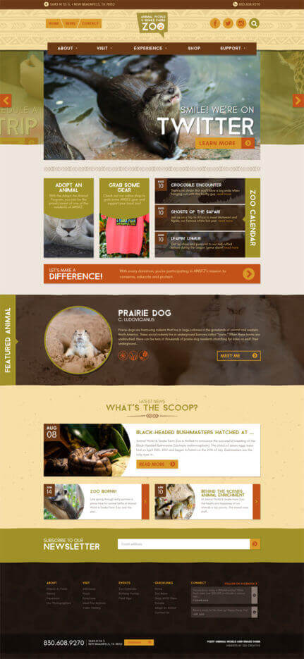 Animal World and Snake Farm Zoo - Custom Wordpress website