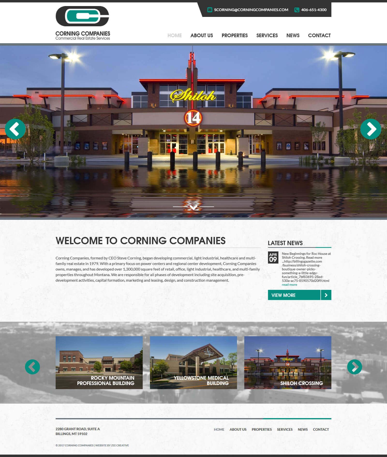 Corning Companies WordPress Website - Billings, MT