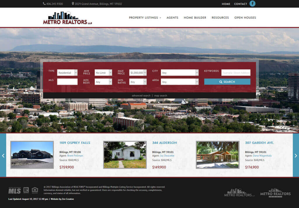 Metro Realtors WordPress Website - Billings, MT