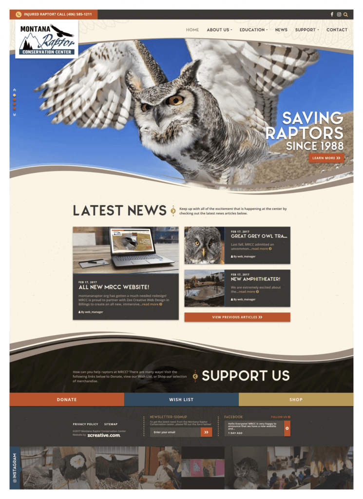 Montana Raptor Conservation Center - Animal Rescue WordPress Website