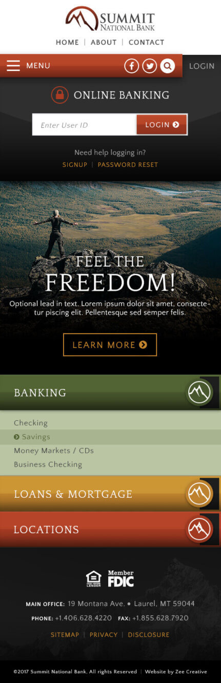 Summit National Bank - Mobile bank website