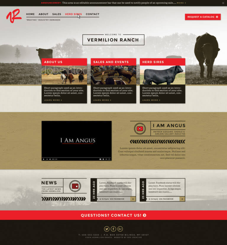 Vermilion Ranch - Custom WordPress website for cattle sales